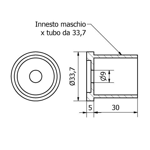 Fissaggio centrale inox per tubo da 33,7