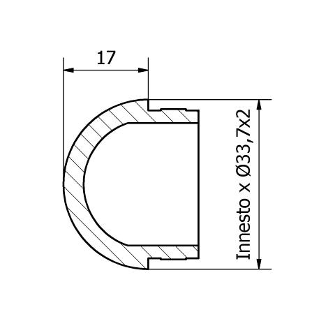 Tappo sferico inox per tubo da 33,7 x 2