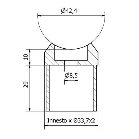 Raccordo a sella inox per tubo da 33,7X2 e montante da 42,4