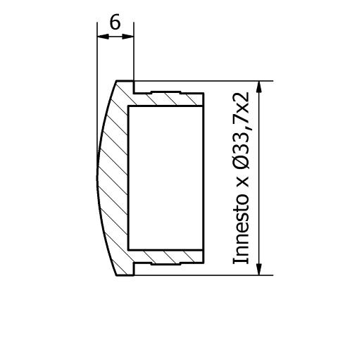 Tappo bombato inox per tubo da 33,7x2
