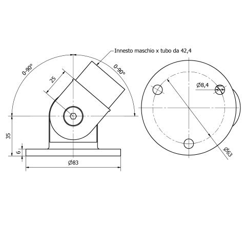 Snodo con piastra inox aisi 316 per tubo da 42,4X2