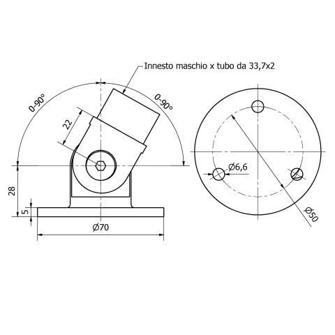 Snodo con piastra inox aisi 304 per tubo da 33,7x2