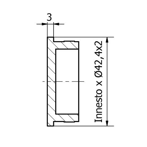 Tappo piatto inox per tubo da 42,4x2