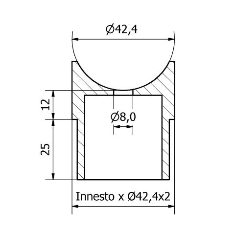 Raccordo a sella inox aisi 316 per tubo da 42,4X2