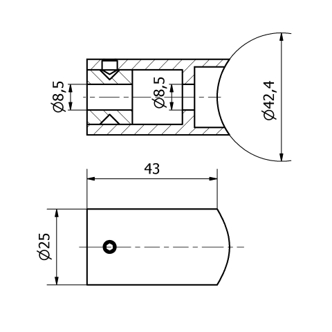 Supporto per corrimano inox tipo 3 per tubo da 42,4