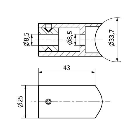Staffa per corrimano inox tipo 3 per tubo da 33,7