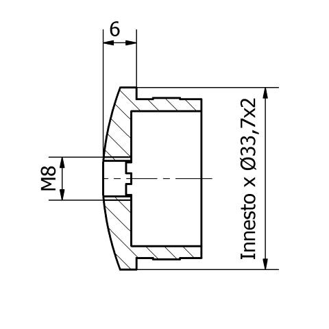 Tappo inox per tubo da 33,7 con foro filettato M8