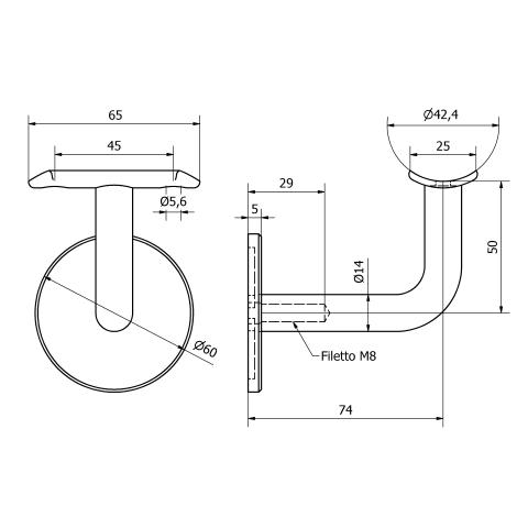 Supporto corrimano tipo 2 inox per tubo da 42,4
