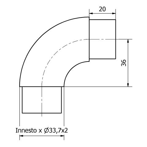 CURVA A 90° PER TUBO Ø 33,7 x 2 AISI 304 SATINATO-9487
