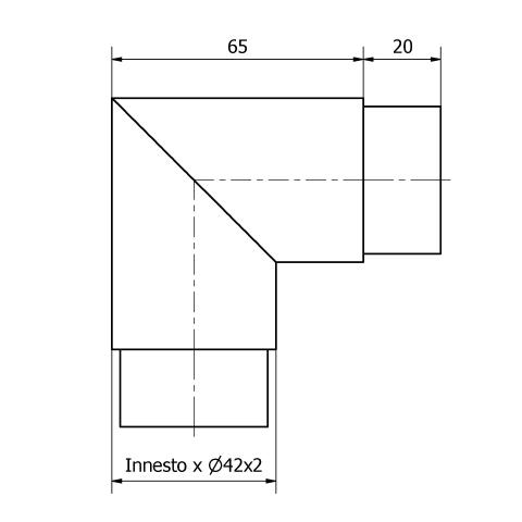 GOMITO A 90° PER TUBO Ø 42,4 x 2 AISI 316 SATINATO-9491