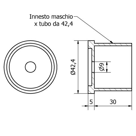 Fissaggio centrale inox lucido per tubo da 42,4