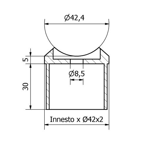 Raccordo a sella inox aisi 316 lucido per tubo da 42,4X2