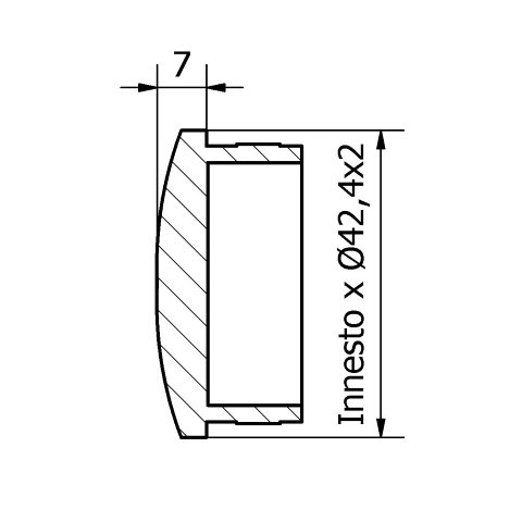TAPPO BOMBATO PER TUBO Ø 42,4 x 2,0 AISI 316 SATINATO-9511