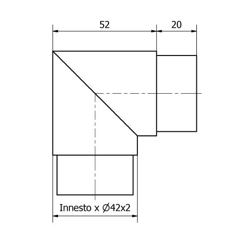 GOMITO A 90° PER TUBO Ø 42,4 x 2 AISI 316 LUCIDO-9492