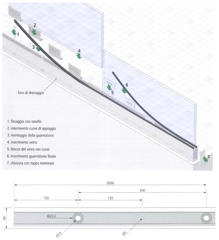 Schema di montaggio simply-glass Light a pavimento